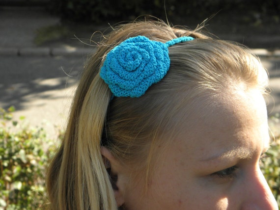 Flower Headband in Blue - Crochet