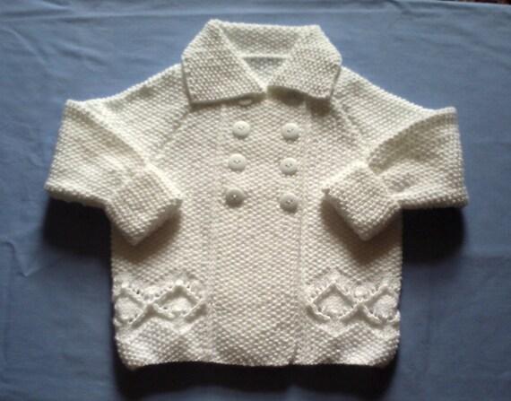 زمستان سفید handknitted ژاکت و کلاه بره. 3 تا 6 ماه.