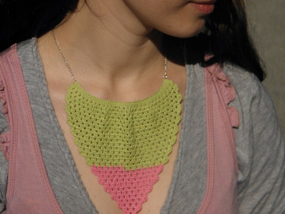 Green and pink crochet lace necklace Mint and Strawberry
