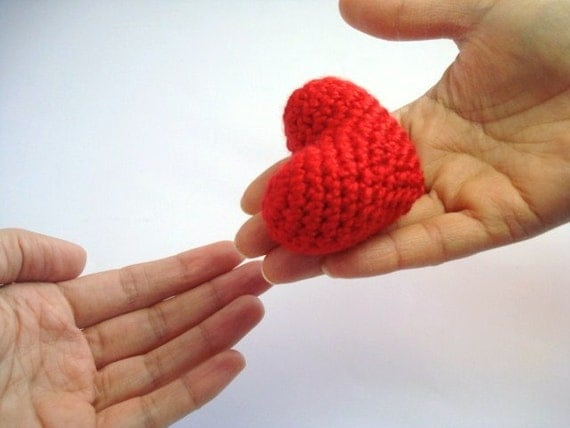 Red Crochet Heart - Gift Idea or Wedding Favour
