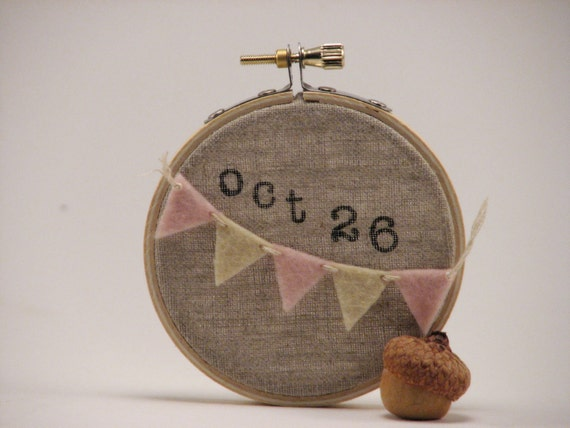 Hoop Art.  Personalized Memento. Tiny Bunting.