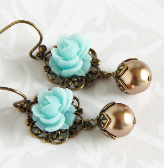 Aqua Flower Earrings With Light Bronze Glass Pearls, Brass Earrings, Sweet Gift Free Shipping