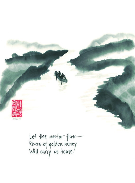 Love and life journey card - blank 5x7 greeting card - Couple floating down river - haiku and sumi ink painting