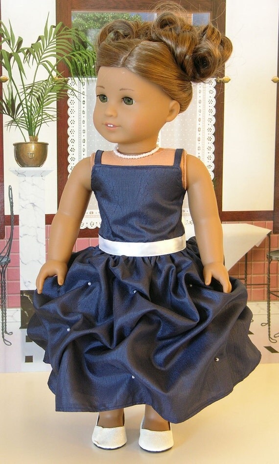 Starlight Gala Gown for American Girl doll with shoes and necklace