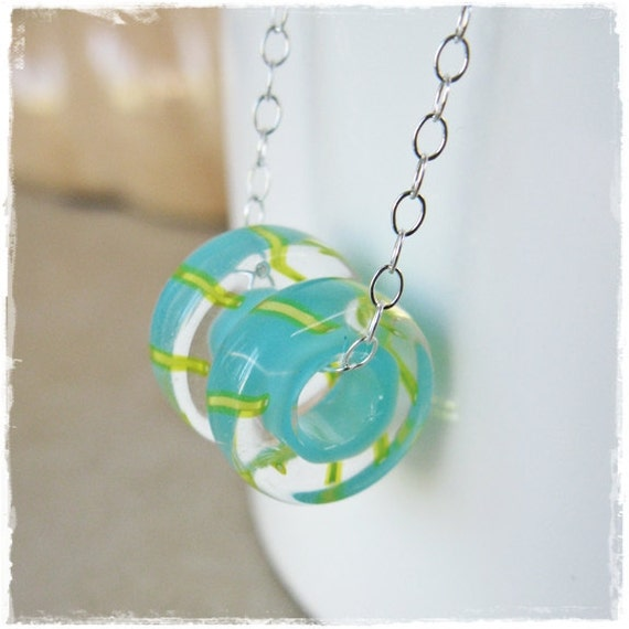 Sterling Silver and Floating Summer Cane Glass Bead Necklace by LaFemmeJewels on Etsy