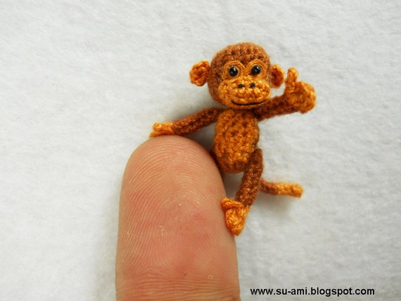 Lovely Brown Monkey - Dollhouse Miniature Animals - 1 inch Scale Crochet Thread Monkeys - Made To Order