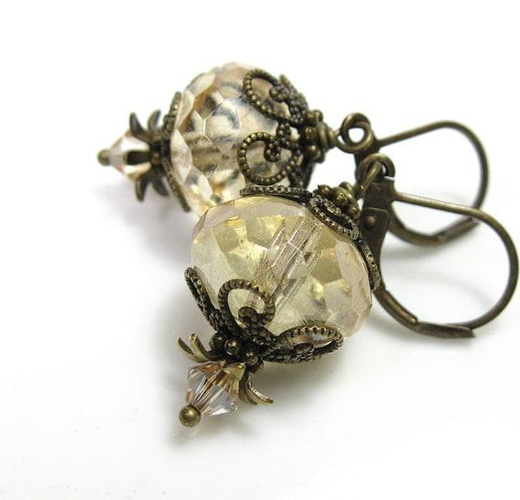 Champagne Vintage Style Earrings, Swarovski, Czech Glass, Antiqued Brass
