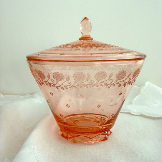 Candy Dish Pink Etched Glass Depression Era