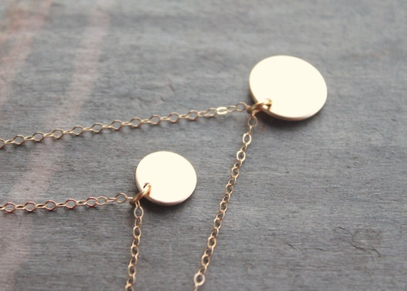 Gold disc pair - set of layered 14k gold filled disc necklaces