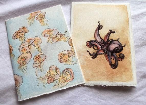 "Deep Sea Greetings - Set of 2 Original Illustrated Cards, 5"" x 7"""