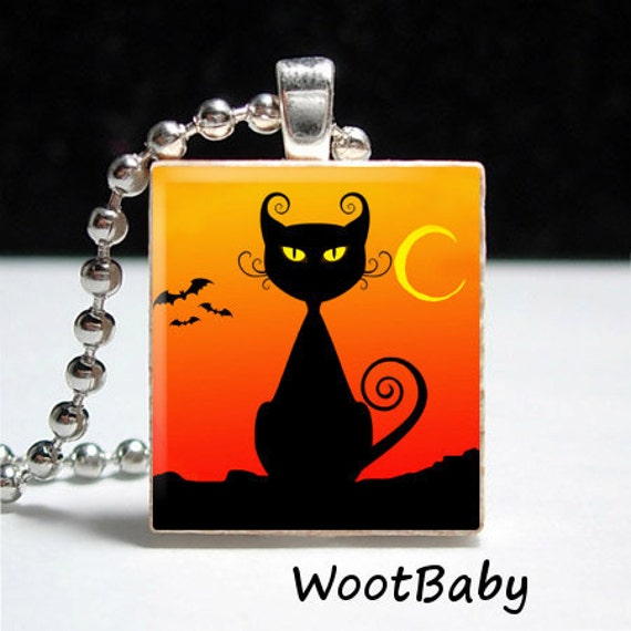 Halloween Black Cat Scrabble Tile Pendant Buy 2 Get 1 Free