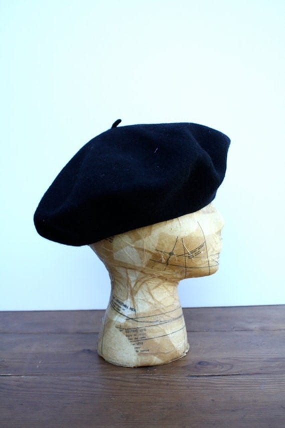Vintage Midnight Black WOOL Beret