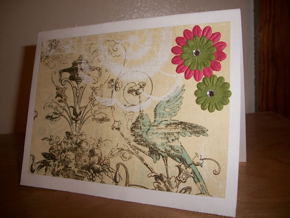 Romantic Bird & Flowers Card