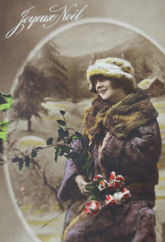 Рождественская открытка французского Vintage BLANK-Joyeux Ноэль