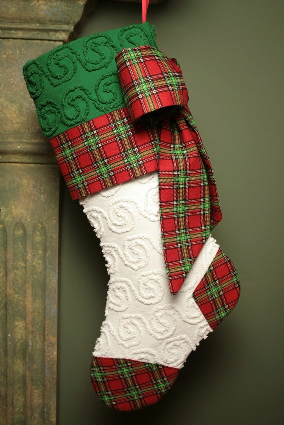White and Green Pinwheel Vintage Chenille Christmas Stocking with Red Tartan Accents