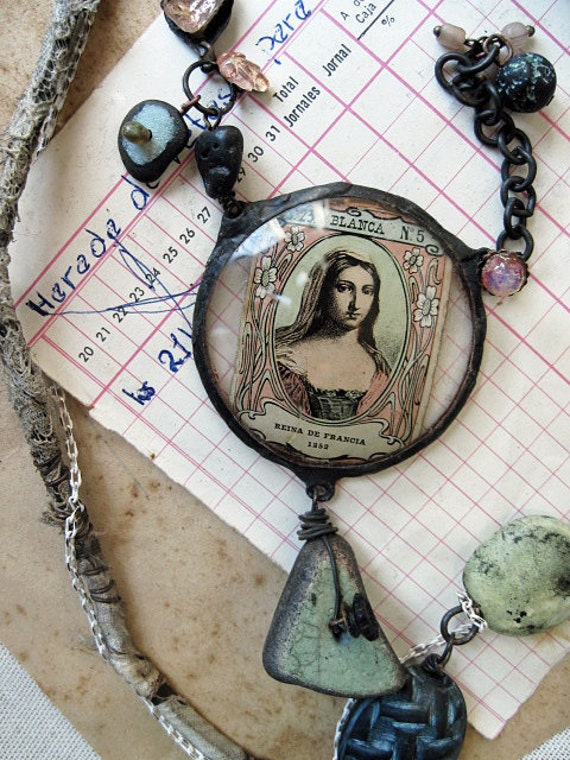 Blanca, Queen of France. Rustic Victorian Tribal Mixed Media Assemblage Necklace.
