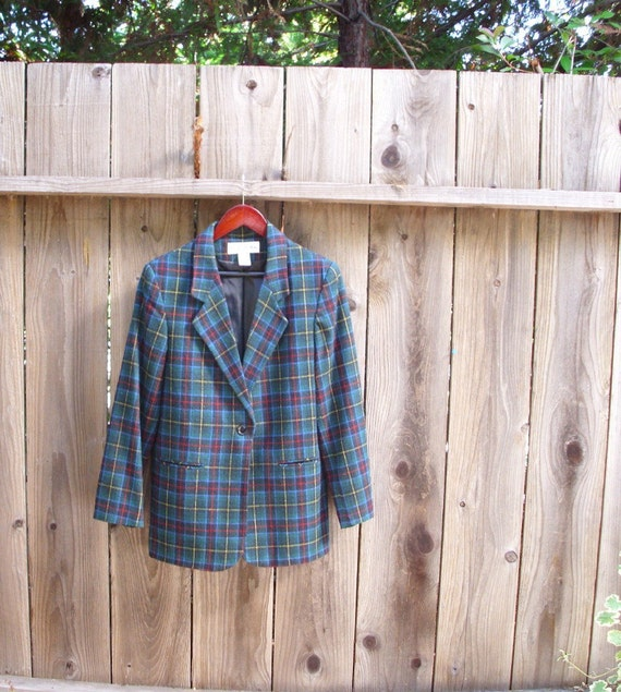 Sale: Blue Tartan Plaid Jacket Wool Blend