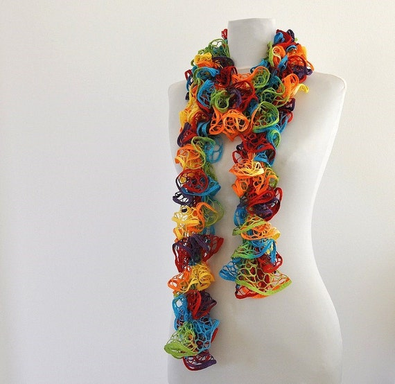 Ruffle Cowl Scarf Handknitted Rainbow Yellow Red Blue Green Turquoise Orange Purple Gift for Her Christmas