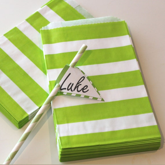 48 GREEN WIDE STRIPE Favor Bags - Treat Bags - Christmas, Holiday, Birthday - Wedding - Baby Shower- St. Patricks Day,