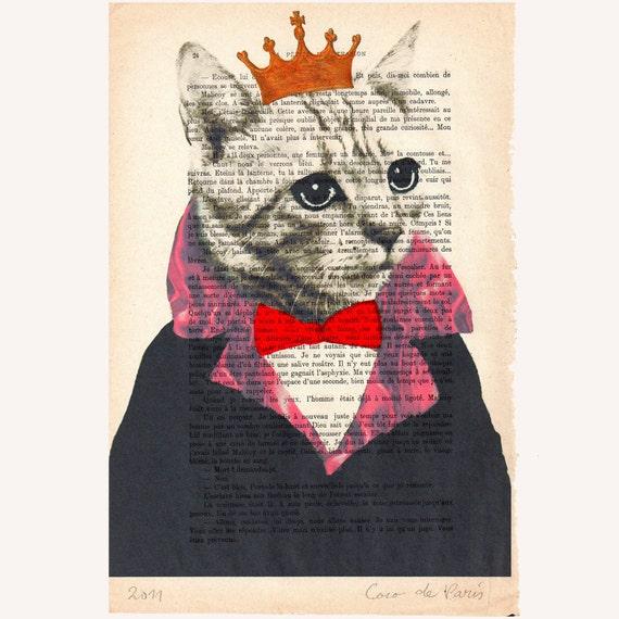"""Оригинальный короля Cat - Original ручная роспись ARTWORK Смещаная 'La Petit Иллюстрация """"1920 известный журнал Parisien Коко De Paris"""