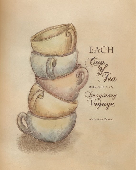 "Tea, vintage, typography, print, Imaginary Tea Voyage, 8"" x 10"" Giclee Print, from Original Illustration"