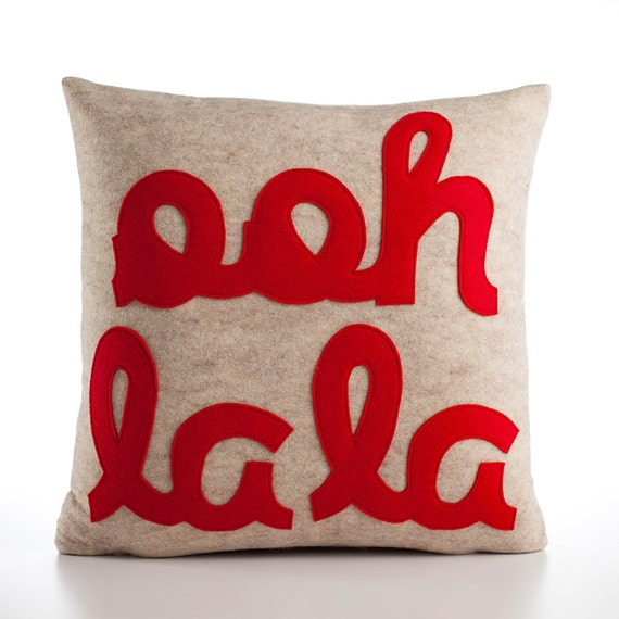 Ooh la la 22x22inch pillow recycled felt applique pillow - oatmeal and red