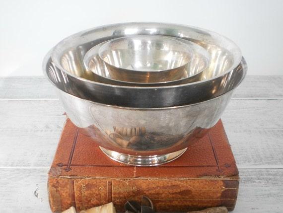 Vintage Silver Nesting Bowls