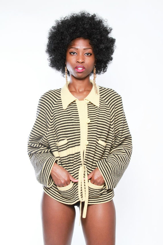 Sonia Rykeil Black and Yellow Collared Sweater