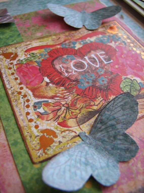 Butterfly Notecards, Mixed-Media, Colorful, Collage Style Set of 4
