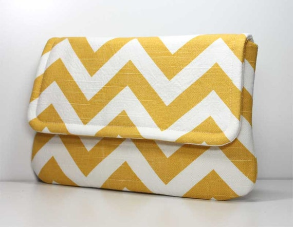 Yellow and White Chevron Clutch