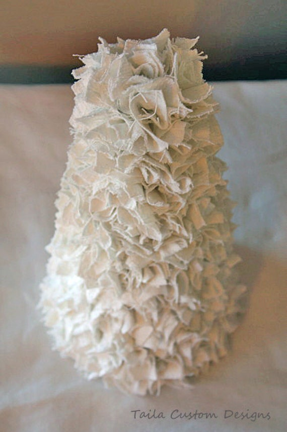 White Christmas Tree Scrap Rag Fabric