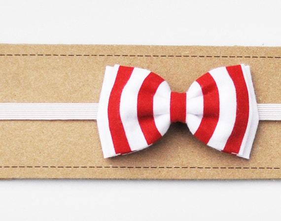 Double Bow Headband / Red Stripe