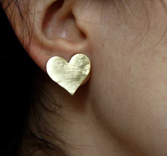 Large Brass Heart Studs