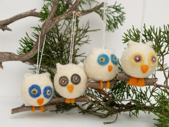 Owl Christmas Ornament Wool Needle Felt Decorations Woodland Tree Waldorf Cute Bird Fairytale Baby Nursery Home Decor Blue White Greenteamt