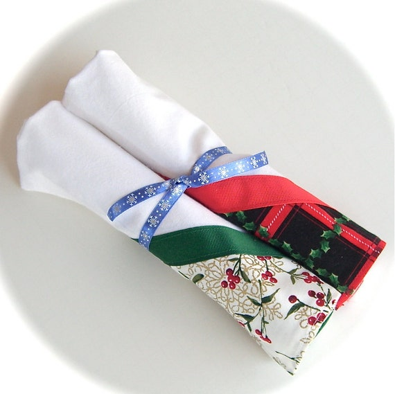 Christmas Gift Wrap, Flour Sack Towels, Christmas Towels, Hot Dish Tote, Set of 2