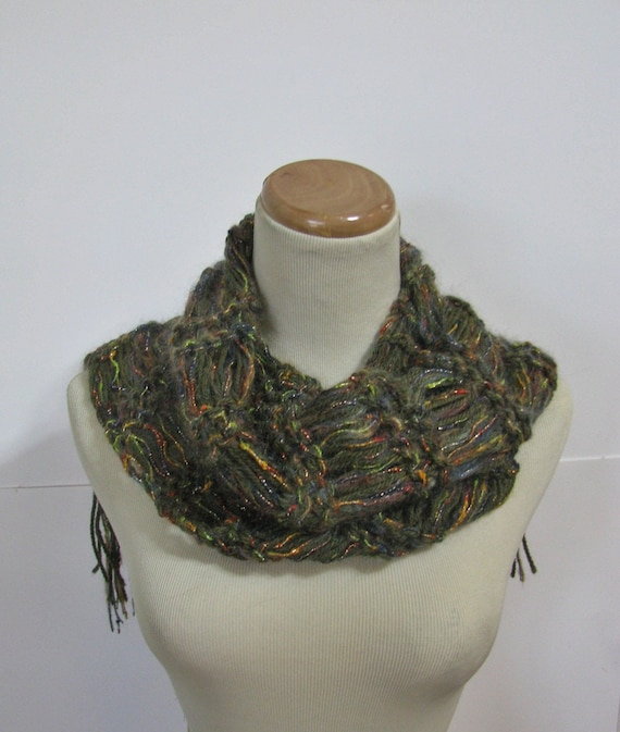 Olive Green Metallic Hand Knit Scarf