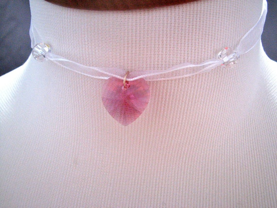 Pink swarovski crystal heart  choker necklaces