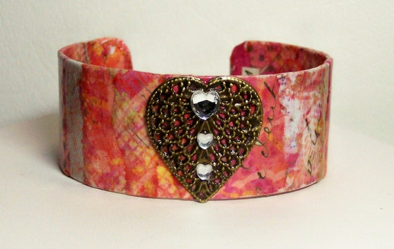 SALE coupon ...You Have My Heart ....Calligraphy Decoupage Cuff Bracelet