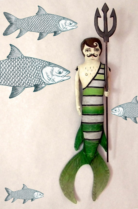 Merman -- Contemporary Folk Art Mermaid Doll-- Made to order within a week