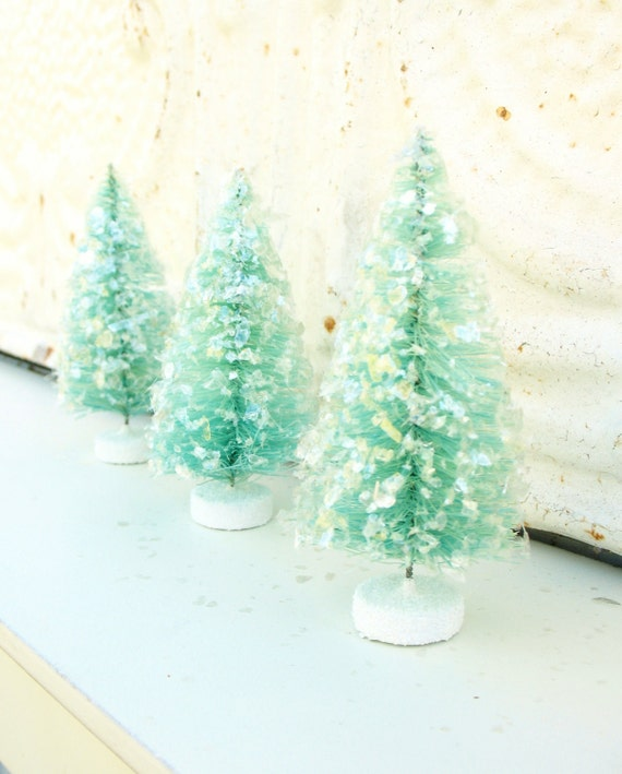 FREE SHIPPING . three glittered bottlebrush trees in aqua . 'seaglass' . medium . 3 1/2 inches tall . for the shabby chic cottage