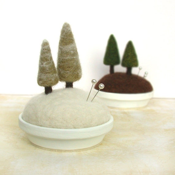 Snowy Pines - Frosty Fir Tree Pincushion Holiday Decor Scene Made to Order