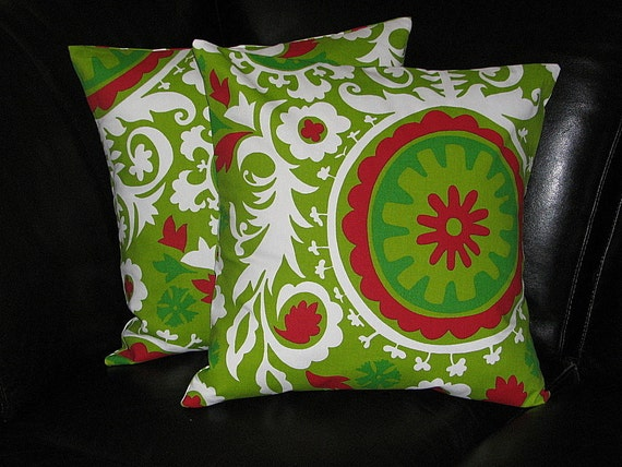 "Christmas Pillows Holiday Pillow Shams SUZANI 20 x 20 inches Festive Holiday Pillows 20"" Red, Green, White Pillows"