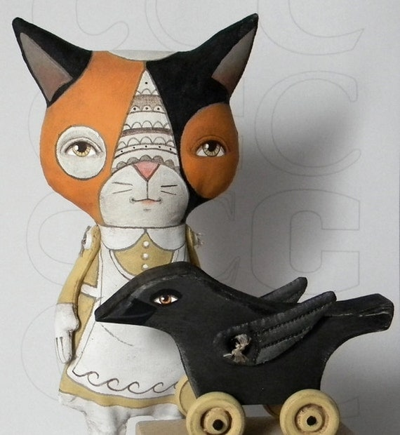 Calico Cat and Crow-- Original Contemporary Folk Art Doll Set-- Made to order within a week