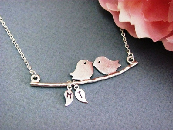 Silver Custom Love Birds on Branch Necklace- your choice of 2-4 initials, sterling silver filled, love valentine,  anniversary, mom's gift