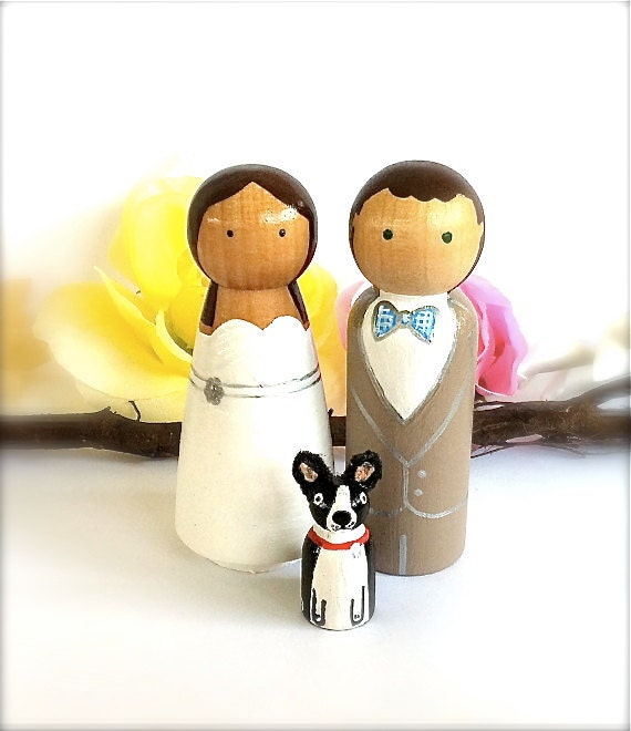 Personalized Wedding Cake Toppers with Pet Natural Wood Peg Dolls Custom