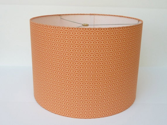 Drum Lamp Shade in  Soft Orange Geometric Fabric