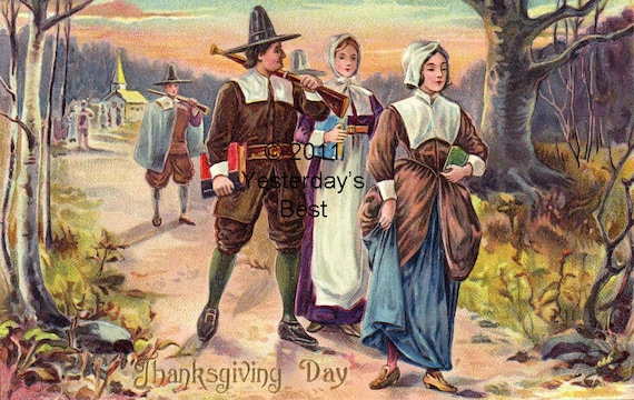 Pilgram Thanksgiving Greeting Card