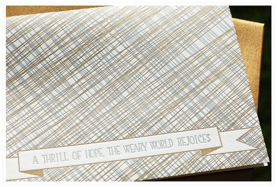 Silver and Gold Letterpress Christmas cards, sketch lines, set of eight