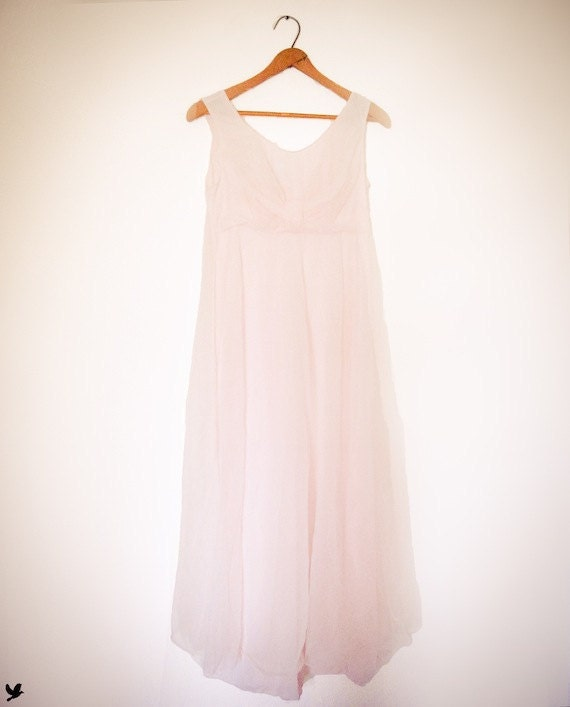 Vintage Virginia Wallace Soft Pink Sheer Nightie Pink Nightgown Peignoir