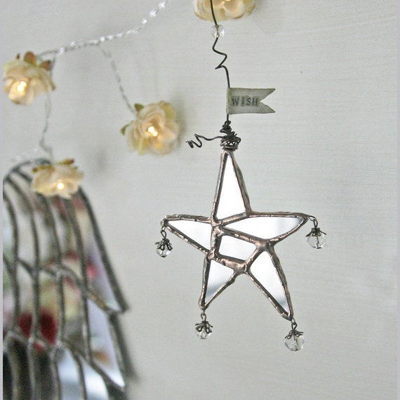Wish Upon a Star - mirror glass, antique glass beads, wire and paper hanging star